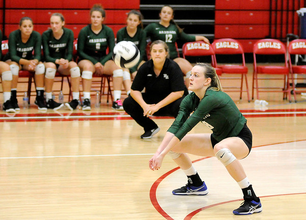 Don Knight | The Herald Bulletin<br /> First round of county volleyball action at Frankton on Thursday.