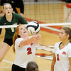 Don Knight | The Herald Bulletin<br /> Frankton's Laikyn Lowe passes the ball as the Eagles faced Pendleton Heights in the county volleyball tournament at Frankton on Thursday.