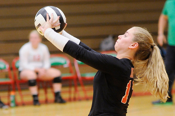 Don Knight | The Herald Bulletin<br /> Anderson's Jordan Beatrice passes the ball as the Indians faced the Frankton Eagles in pool play  during the Madison County Volleyball Tournament at Anderson on Thursday.