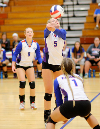 Don Knight | The Herald Bulletin<br /> Opening round of the Madison County volleyball tournament at Elwood on Thursday.