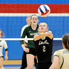 Don Knight | The Herald Bulletin<br /> Lapel's Isabel Anderson passes the ball as the Bulldogs faced Pendleton Heights in the county championship at Elwood on Saturday.