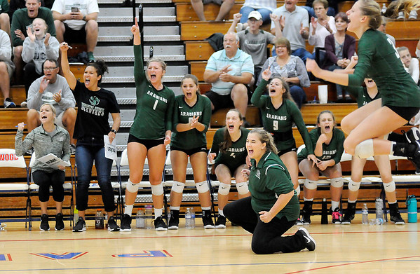 Don Knight | The Herald Bulletin<br /> The Pendleton Heights Arabians react to winning a point as they faced Lapel in the county championship at Elwood on Saturday.