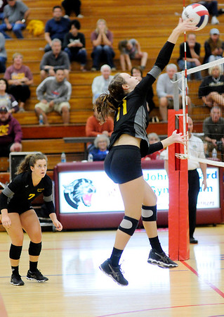 Don Knight   The Herald Bulletin<br /> Madison County Volleyball championship at Elwood on Saturday.