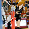 Don Knight | The Herald Bulletin<br /> Alexandria's Allyson Granger attacks the ball  during the Madison County Volleyball championship at Elwood on Saturday.