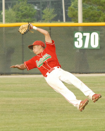 Anderson second baseman Jacob Thompson makes a great catch in short left field for the Indians.