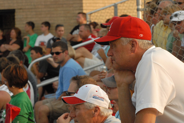 Anderson Indian fan watches from the stands.