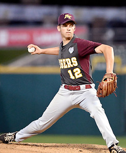 John P. Cleary | The Herald Bulletin Alexandria Tiger pitcher Brennan Morehead threw a complete game in their 4-3 win for the 2A Baseball State Championship.