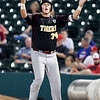John P. Cleary | The Herald Bulletin<br /> The Alexandria Tigers vs Southridge Raiders in IHSAA 2A Baseball State Championship. Alexandria's Nick Williams gets the fans into the game after he got a hit to start a rally.