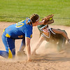Pendleton Heights' Brianna Pryor beats the tag of Greenfield-Central's Ashley Whitaker as she steals second during the sectional championship on Wednesday.