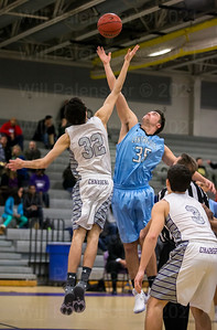 Chantilly's Elijah Ford #32 and Centreville's Tyler Lohman #35 jump the start of Conference 5 play