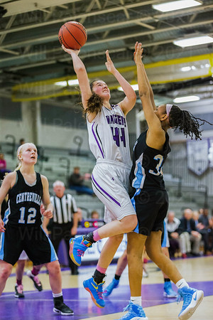 Mary Clougherty elevates ball over Centreville defender
