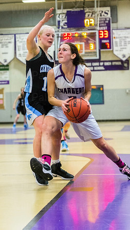 Centreville's Aleigh Gambone # 12 defends Chantilly's Hannah Reeves #5