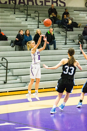 Claire Roberts #12 fires a three point attempt for Chantilly