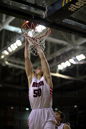 Woodson's Nate Spurlock's dunk attempt goes off the back of the rim in the Virginia 6A Final in Richmond.
