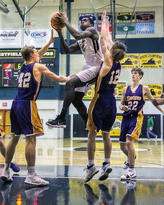 Aaron Opoku #3 soars to the hoop.