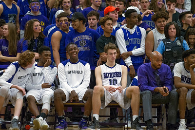 The Battlefield bench has a lot to smile about  in the closing moments of the game with Madison