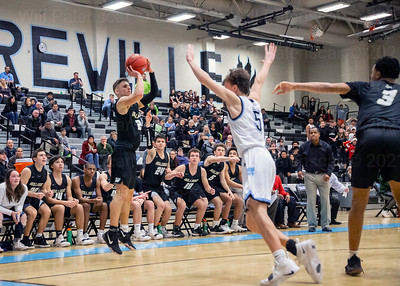 Westfield players anticipate Taylor Morin's shot in the closing seconds of an OT game with Centreville. Centrevile would win 49-46