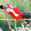 Don Knight | The Herald Bulletin<br /> Liberty Christian's DaMarcus Watkins wins the high jump during the Boys Track Sectional at Mt. Vernon on Thursday.