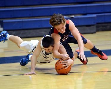 CR South junior Jim Rebholz battles Jenkintown player for loose ball.