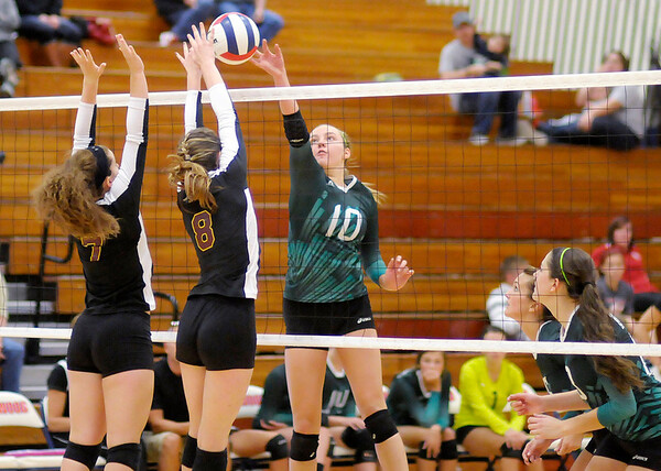 Don Knight | The Herald Bulletin<br /> Alexandria won the county volleyball tournament at Elwood on Saturday.