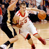Frankton's Aaron Korn drives into the lane against Lapel defender Brady Cherry.