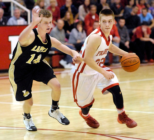 THB photo/John P. Cleary<br /> Frankton's Nick Wright, right, gets a step on Lapel defender Mitchell Richardson.