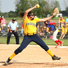 Photo by Chris Martin<br /> Shenandoah's Rachel Krathwolh pitches against Elwood in a regional loss Tuesday