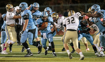 Jameel Siler with the ball and Centreville  came up just short against rival Westfield