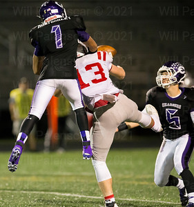 Chantilly FS #1 disrupts the pass to Mcleans Patrick Dolan #13. Montgomery also scored Chantillys first touchdown of the game on a 10 yard touchdown reception
