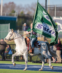 The South County Stallion takes to the field prior to the 6A North Region Final with Westfield
