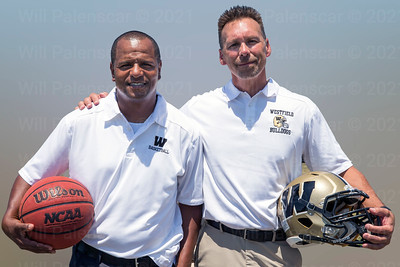 L-R Coach Basketball Coach Doug Ewell , Football Coach Kyle Simmons