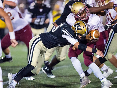 Westfield's Hunter Lydic hit on Oakton QB Ahmad Shaw forces a fumble which led to a Nicholas DiVecchia defensive TD