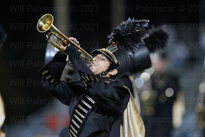 A member of Westfield's  marching band  performs  at halftime of the  Patriot game.