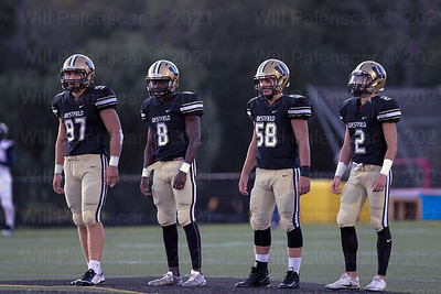 Westfield team captains Nolan Cockrill #97, Eugene Asante #8, Cole Ohr#58 and Taylor Morin #2