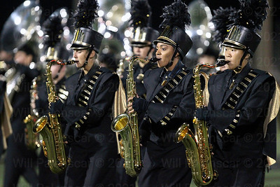 Members of Westfield's  marching band perform at halftime.