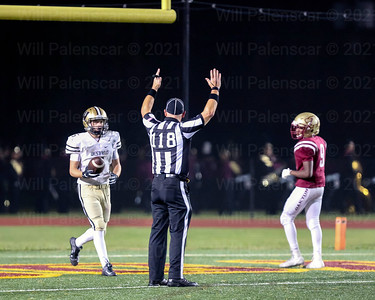 Gavin Kiley #5 hands the ball back to referee after his 45 yard TD reception.