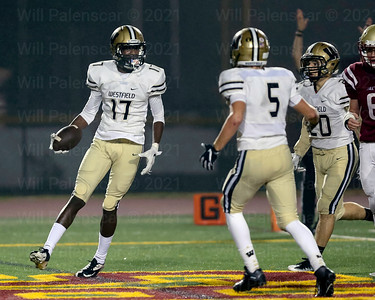 Bizzet Woodley celebrates the first of his two touchdown receptions for visiting Westfield.