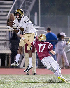Bizzet Woodley pulls in one of his two two TD receptions in Westfield's win over Oakton . Woodley caught two passes for 21 yards.