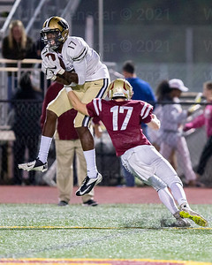 Bizzete Woodley pulls in one of his two two TD receptions in Westfield's win over Oakton . Woodley caught two passes for 21 yards.