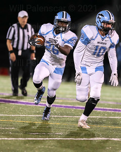 Bassie Kanu #26 carries the ball while teammate Charlie Salette #10 looks to block. Kanu carried for 38 yards and a TD while Salette carried 17 times for 123 yards and 2 TD's.