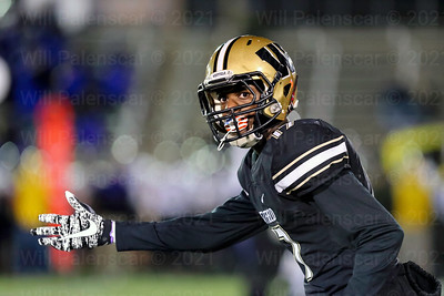 Bizzet Woodley #17 looks to ref to confirm if he is on the line of scrimmage prior to a Westfield play