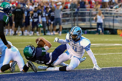 Carrington Nickens-Yzer #4 stops South County QB Joe Sheffield on 4th down just short of the goal line.