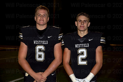 Westfield 's Joe Clancy #6 and Taylor Morin #2 both played important roles in the Westfield 21-0 win over rival Centreville.