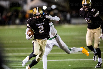 Westfield's  Taylor Morin #2  would score on this reception in the 2nd quarter
