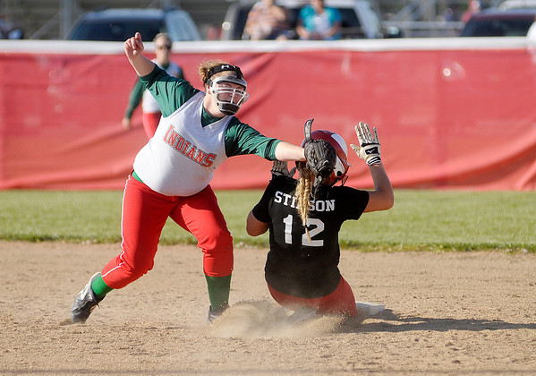 Frankton's  Sami Stinson steals second beating the tag of Anderson's  Taylor Courtney as the Eagles hosted the Indians on Wednesday.
