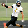 John P. Cleary | The Herald Bulletin<br /> Lapel's Joe Hart holds out the football as he crosses the goal line for one of his <br /> six touchdowns against Frankton Friday.<br /> For a gallery of photos to view or purchase, visit<br /> photos.heraldbulletin.com.