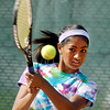Janine Kabir, Anderson's No. 1 singles player, returns a shot during her sectional match.