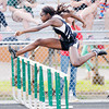 Don Knight | The Herald Bulletin<br /> Lapel's Plenseh-tay Sakeuh competes in a 100 meter hurdle prelim during the Girls Track Sectional at Pendleton Heights on Tuesday.