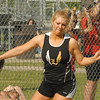 Ashley Owen throws the discus for Lapel High School.
