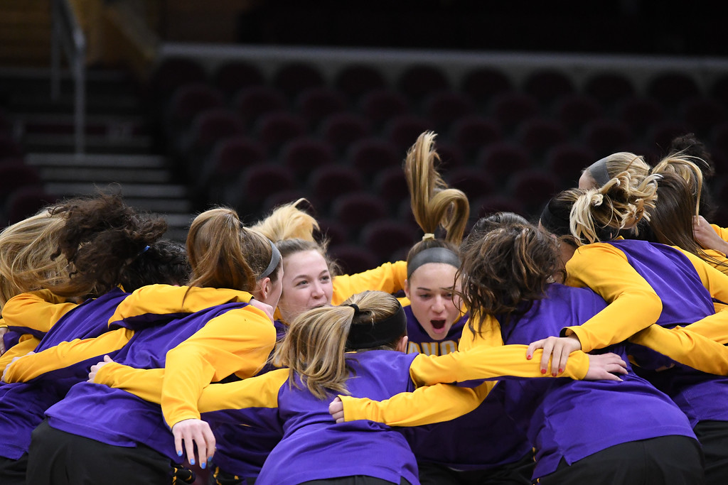 . Eric Bonzar�The Morning Journal<br> The Avon Eagles get hyped up before the start of their game against the Wadsworth Lady Grizzlies, at Quicken Loans Arena, Jan. 2, 2018.